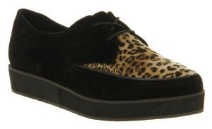 Eccentric creeper black microfibre leopard