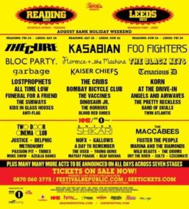 Leeds and Reading 2012 Line Up