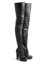 Versus By Versace Pull On Thigh High Leather Platform Boots